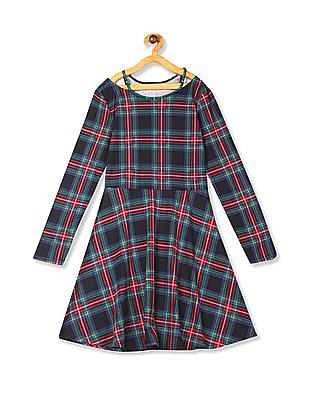 The Children's Place Multi Colour Girls Long Sleeve Notch Neck Plaid Knit Dress