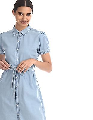 Flying Machine Women Blue Belted Shirt Dress