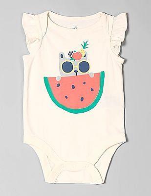 GAP White Baby Ruffle Sleeve Graphic Bodysuit