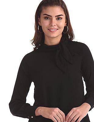 Elle Studio Black Pussy Bow Collar Solid Top