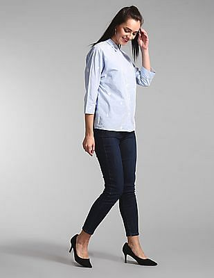 GAP Blue Yarn Dyed Embroidered Striped Shirt