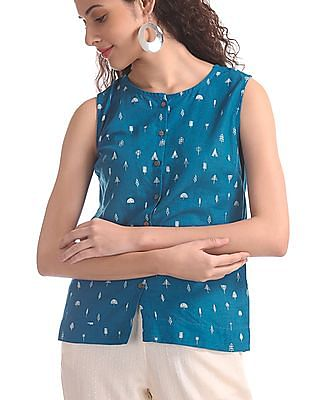 Bronz Blue Sleeveless Printed Top