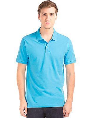 GAP Men Blue Solid Pique Polo Shirt