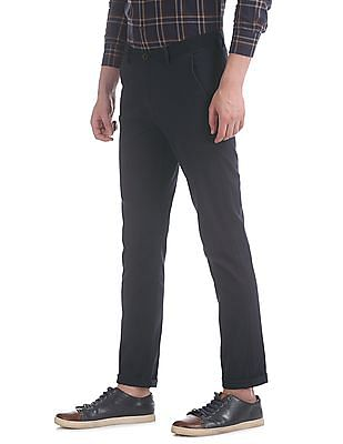 Arrow Sports Blue Chrysler Slim Fit Solid Trousers