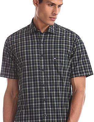 Arrow Sports Green Semi Cutaway Collar Check Shirt