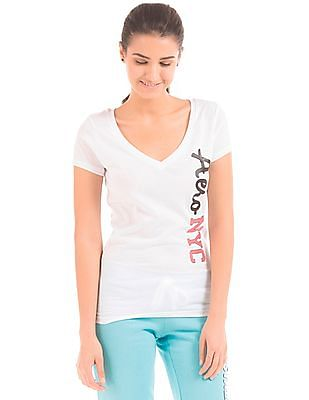 Aeropostale Relaxed Fit V-Neck T-Shirt