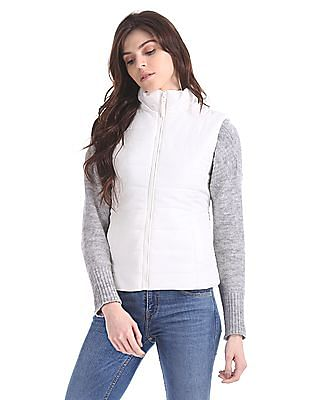 Aeropostale Solid Quilted Gilet Jacket