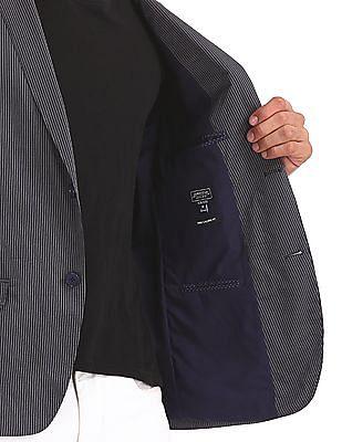 Arrow Newyork Grey And Navy Single Breasted Striped Blazer
