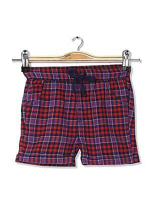 Donuts Boys Drawstring Waist Check Shorts