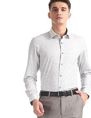 Arrow Newyork Grey Slim Fit Vertical Stripe Shirt