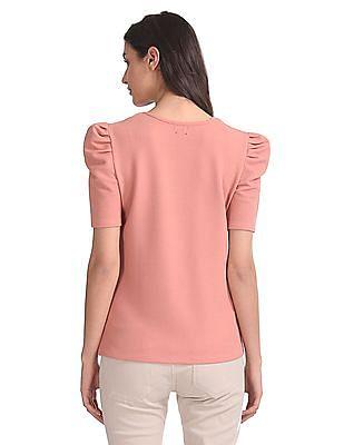 Elle Studio Elbow Sleeve Textured Top