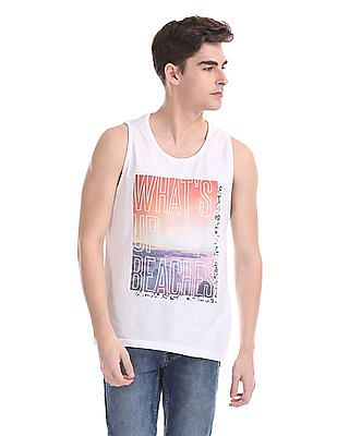 d2002fc5 Buy Men Ribbed Neck Graphic Tank online at NNNOW.com