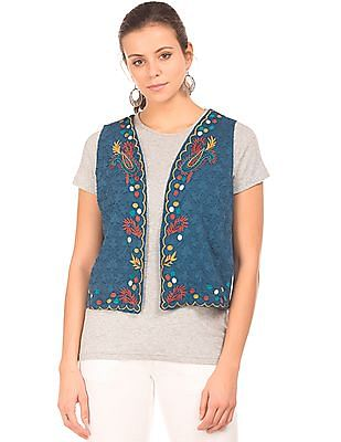 Bronz Embroidered Sleeveless Shrug