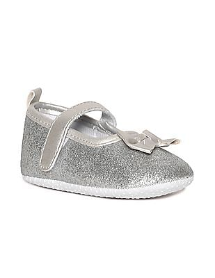 Donuts Silver Girls Bow Accent Glittery Ballerinas
