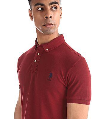 U.S. Polo Assn. Red Button Down Collar Solid Polo Shirt