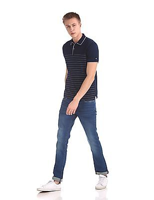 Arrow Sports Striped Front Tipped Polo Shirt