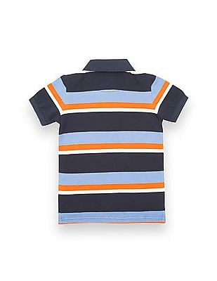 U.S. Polo Assn. Kids Boys Striped Pique Polo Shirt
