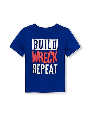 The Children's Place Toddler Boy Short Sleeve 'Build Wreck Repeat' Graphic Tee