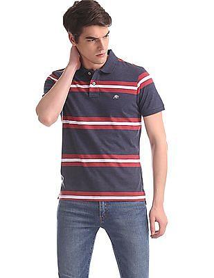 Aeropostale Blue Regular Fit Striped Polo Shirt