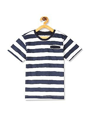 Cherokee White And Navy Boys Striped T-Shirt