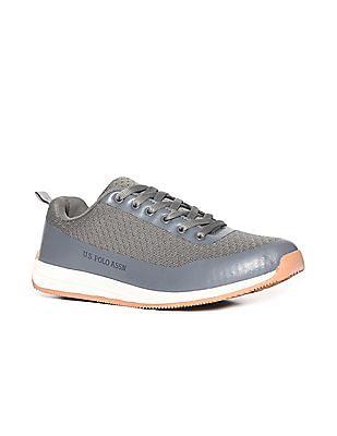 U.S. Polo Assn. Grey Round Toe Flyknit Sneakers