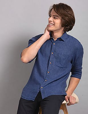 True Blue Blue Slim Fit Chambray Shirt