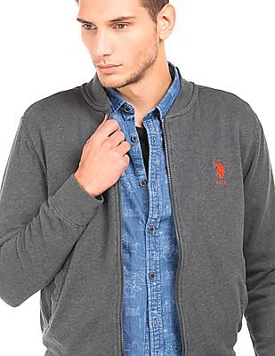 U.S. Polo Assn. Heathered Zip Up Sweatshirt