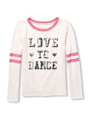 The Children's Place Girls Active Long Sleeves Sequin And Foil Graphic Top