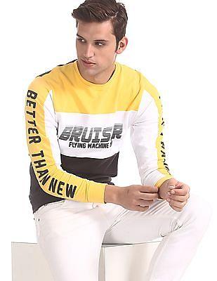 Flying Machine Black Crew Neck Colour Block Sweatshirt