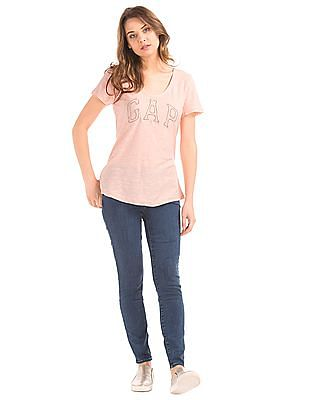 GAP Women Pink Bead Embellished Logo Tee