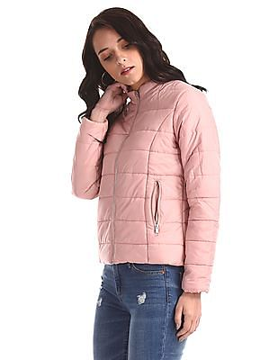 Cherokee Pink High Neck Quilted Jacket