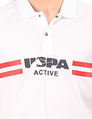 USPA Active Striped Chest Active Polo Shirt
