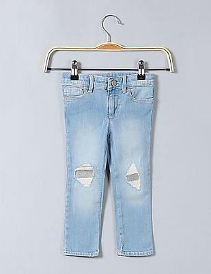 GAP Baby Skinny Fit Sequin Embellished Jeans
