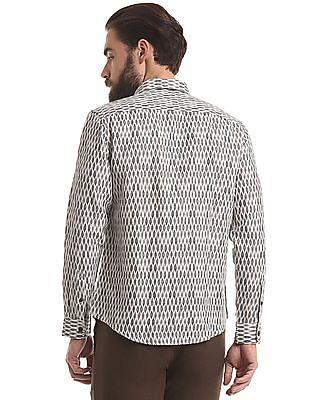 True Blue Ikat Print Cotton Linen Shirt