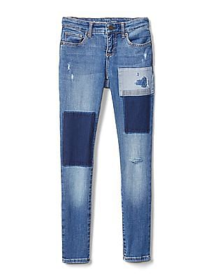 GAP Girls Mid Rise Super Skinny Jeans With Patchwork In High Stretch