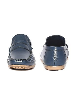 Arrow Textured Leather Penny Loafers