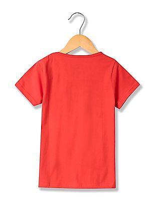 Cherokee Girls Textured Print Knit T-Shirt