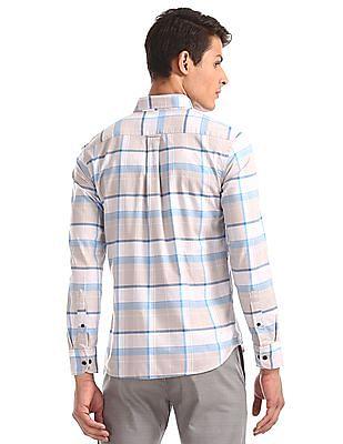 U.S. Polo Assn. Beige And Blue Button Down Collar Check Shirt