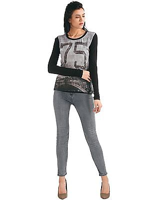 Elle Printed Mixed Fabric Top