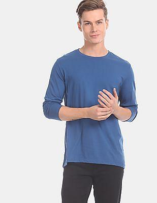 GAP Men Blue Long Sleeve Everyday Crew Neck T-Shirt