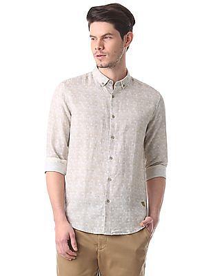 True Blue Printed Cotton Linen Shirt