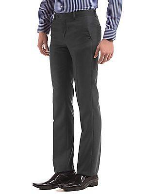 Arrow Grey slim-fit formal trousers