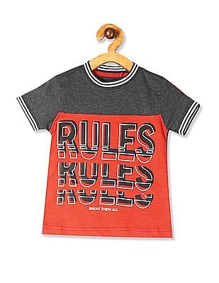 Cherokee Grey Boys Printed Panel Tipped T-Shirt