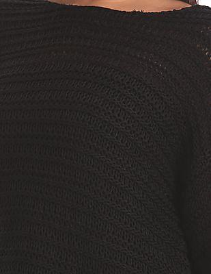 Elle Drop Shoulder Open Knit Sweater