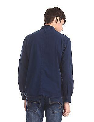 Cherokee Blue Zipper Pocket Solid Shirt