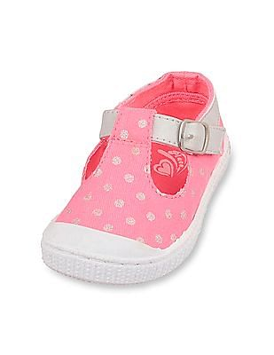 The Children's Place Toddler Girl Pink Glitter Dot T-Strap Skipper Sneaker