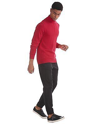 Aeropostale Red Half Zip Flat Knit Sweater