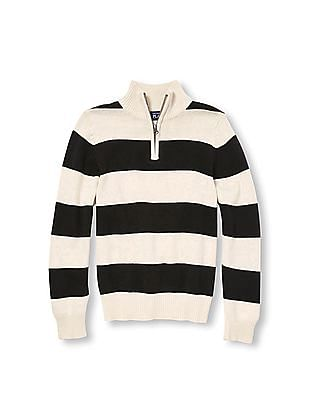 The Children's Place Boys Long Sleeve Rugby Stripe Half-Zip Sweater