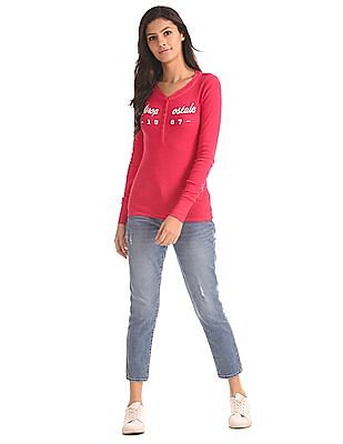 Aeropostale Long Sleeve Ribbed Henley T-Shirt