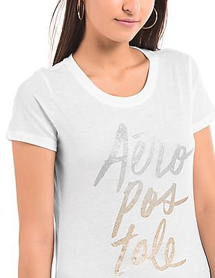Aeropostale Glitter Print Relaxed Fit T-Shirt